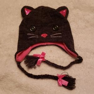 🌻 CAT KNIT HAT PINK  /  GRAY